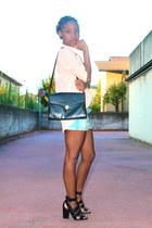 light blue H&M skirt - peach Topshop shirt - black Zara sandals