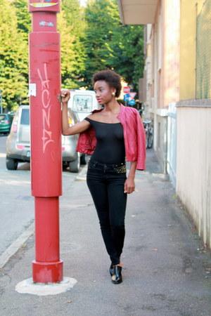 black Zara jeans - red Forever 21 jacket - black Zara heels