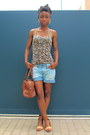 Brown-coccinelle-bag-light-blue-river-island-shorts