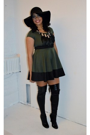 H&M hat - Victorias Secret boots - Boohoo dress