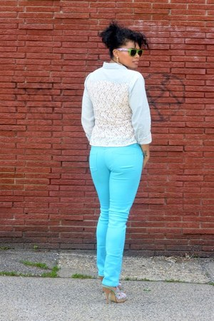 lace Sears Outlet top - unknown brand jeans - JCPenney sunglasses