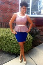 peplum unknown top - Steve Madden shoes - bandage Forever 21 skirt