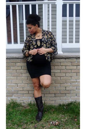 black bodycon American Apparel dress - dark brown riding Momissimo boots