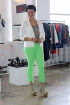 chartreuse neon Wet Seal jeans - beige shoeties alloy shoes - white Gap blazer