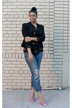 patterned Kmart top - boyfriend jeans American Apparel jeans