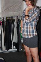 blue Wrangler top - gray supre skirt - black hat - black sam edelman shoes - whi