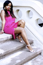 hot pink H&M dress - silver Guess heels