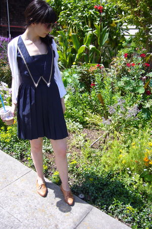 white thrift cardigan - blue Dear Creatures dress - beige vintage shoes - vintag