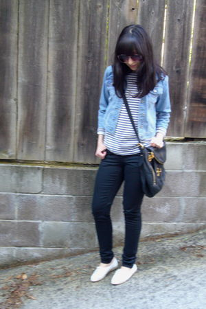 black Cheap Monday jeans - white vintage shoes - vintage sunglasses - blue vinta