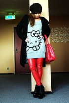 red eko skin DIY pants - black coat - heather gray hello kitty sweater