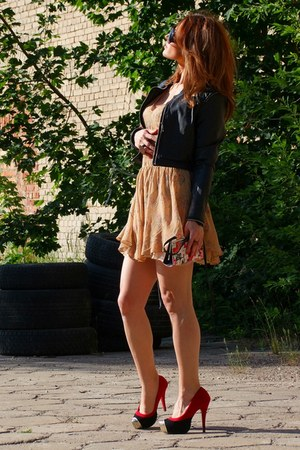 beige seide DIY dress - black DIY blazer