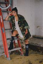 thrifted jacket - Amazon boots - huf socks - brandy melville t-shirt