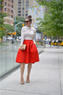 Black-prada-sunglasses-nude-steve-madden-pumps-white-lace-crop-top-h-m-top
