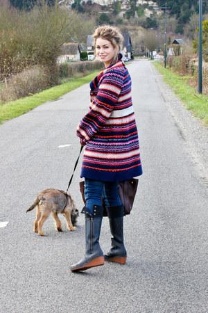 navy Manoush sweater - black Trenton boots - dark brown Celine purse