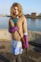 violet banana republic dress - bronze JCrew sweater - dark brown coach purse