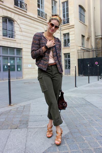 coral Zara jacket - brown Nine West shoes - deep purple Fracesco Biasia bag