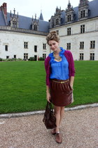 Frye loafers - Celine bag - velvet JCrew skirt - Angie blouse