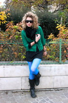 black coach boots - dark green Zara jacket - sky blue Forever 21 tights