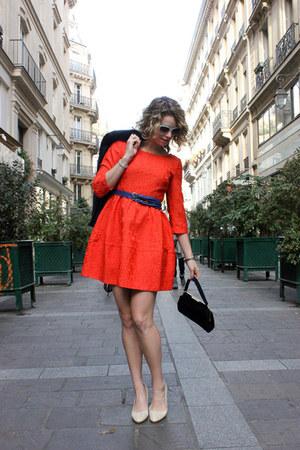 carrot orange H&M dress - navy vintage blazer
