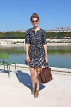 bronze thakoon dress - brown Minelli boots - dark brown Celine purse