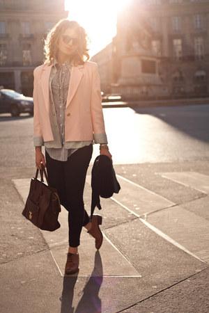 bubble gum vintage blazer - black Gap jeans - brown Celine purse