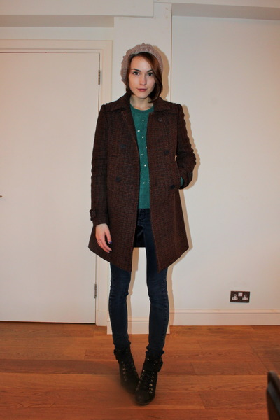 whistles coat - Urban Outfitters boots - Cheap Monday jeans - Accessorize hat