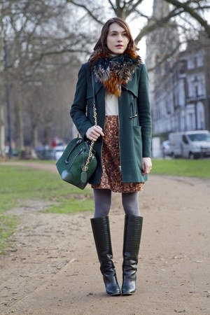 burnt orange Style Skins scarf - Pollini boots - dark green whistles coat
