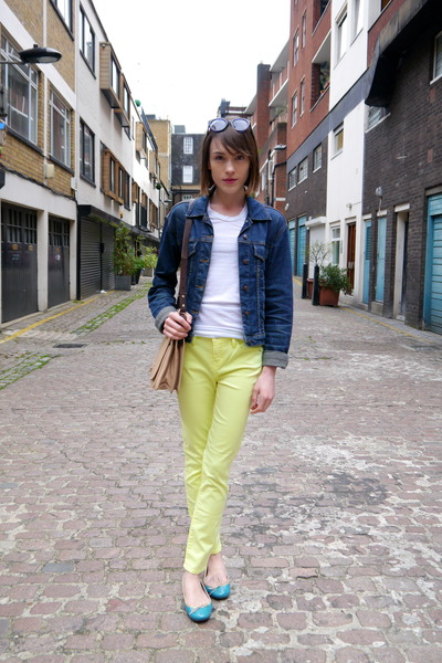 neon Armani Exhange jeans - vintage jacket - whistles bag - French Sole flats