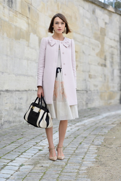 redvalentino coat - redvalentino dress - Chloe bag - russell & bromley pumps