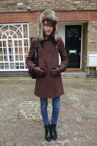 whistles coat - dune boots - acne jeans - Maje hat - Marc by Marc Jacobs bag