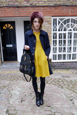 Mulberry bag - Massimo Dutti boots - whistles dress - APC coat - Topshop hat