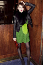 karen millen boots - Tibi dress - Maje jacket - charlotte simone scarf