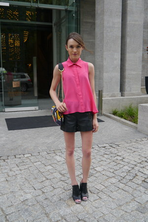 PAPER London shirt - Angel Jackson bag - Topshop shorts - Vince Camuto sandals