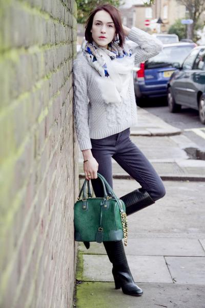 Pollini boots - Blk Dnm jeans - Alexander McQueen scarf - Alice  Olivia bag