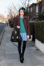 Topshop dress - Hobbs boots - whistles coat - Topshop hat - Mulberry bag