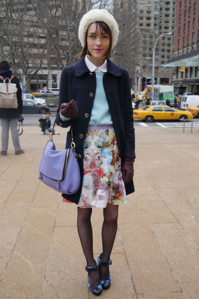 Carven skirt - APC coat - Theory sweater - Theory shirt - Anya Hindmarch bag