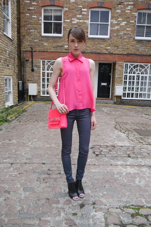 PAPER London shirt - metallic J Brand jeans - hot pink Guess bag