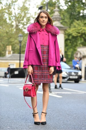 Matthew Williamson coat - Matthew Williamson dress - Roger Vivier bag
