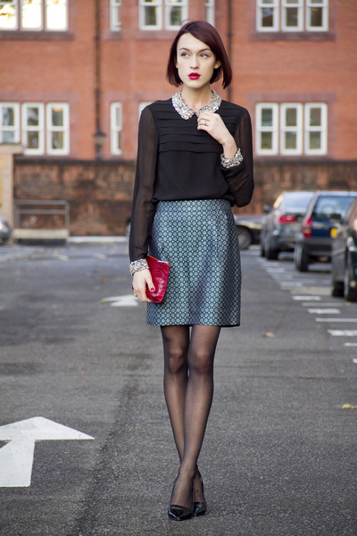 JCrew skirt - LK Bennett bag - Kurt Geiger heels - whistles blouse