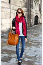 Lily and Lionel scarf - acne jeans - All Saints jacket - Anya Hindmarch bag