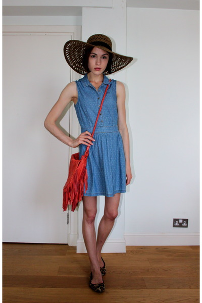 denim polkadot Topshop dress - large straw Topshop hat - orange tassle Urban Out