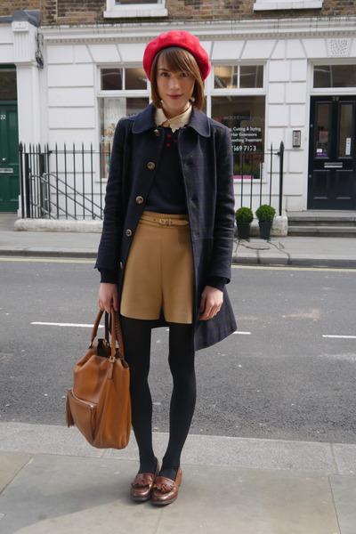 APC coat - American Apparel hat - Anya Hindmarch bag - whistles shorts