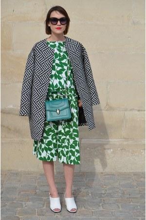 kate spade skirt - Alice  Olivia coat - bvlgari bag - kate spade top