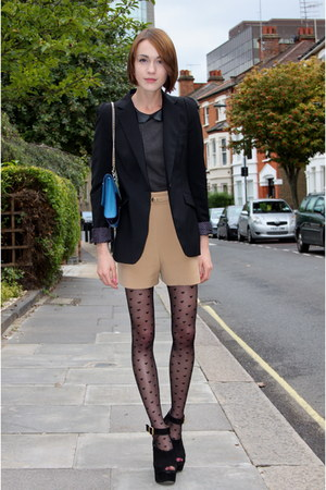 Accessorize tights - Zara blazer - whistles bag - whistles shorts - whistles top