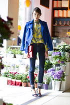 Club Monaco shirt - J Brand jeans - Club Monaco jacket - coach bag
