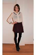 Urban Outfitters boots - American Apparel skirt - Topshop blouse