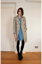 Urban Outfitters boots - Topshop dress - Comptoir des cottoniers coat