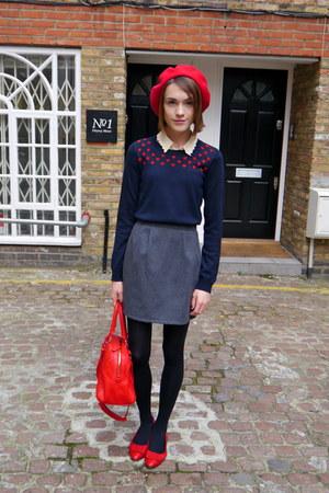 jaeger bag - American Apparel hat - jaeger jumper - whistles blouse