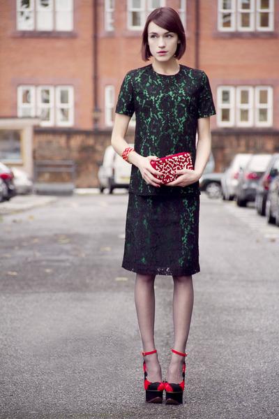 Valentino bag - Iris & Ink skirt - Charlotte Olympia wedges