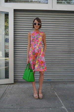 kate spade dress - Michael Kors bag - Karen Walker sunglasses